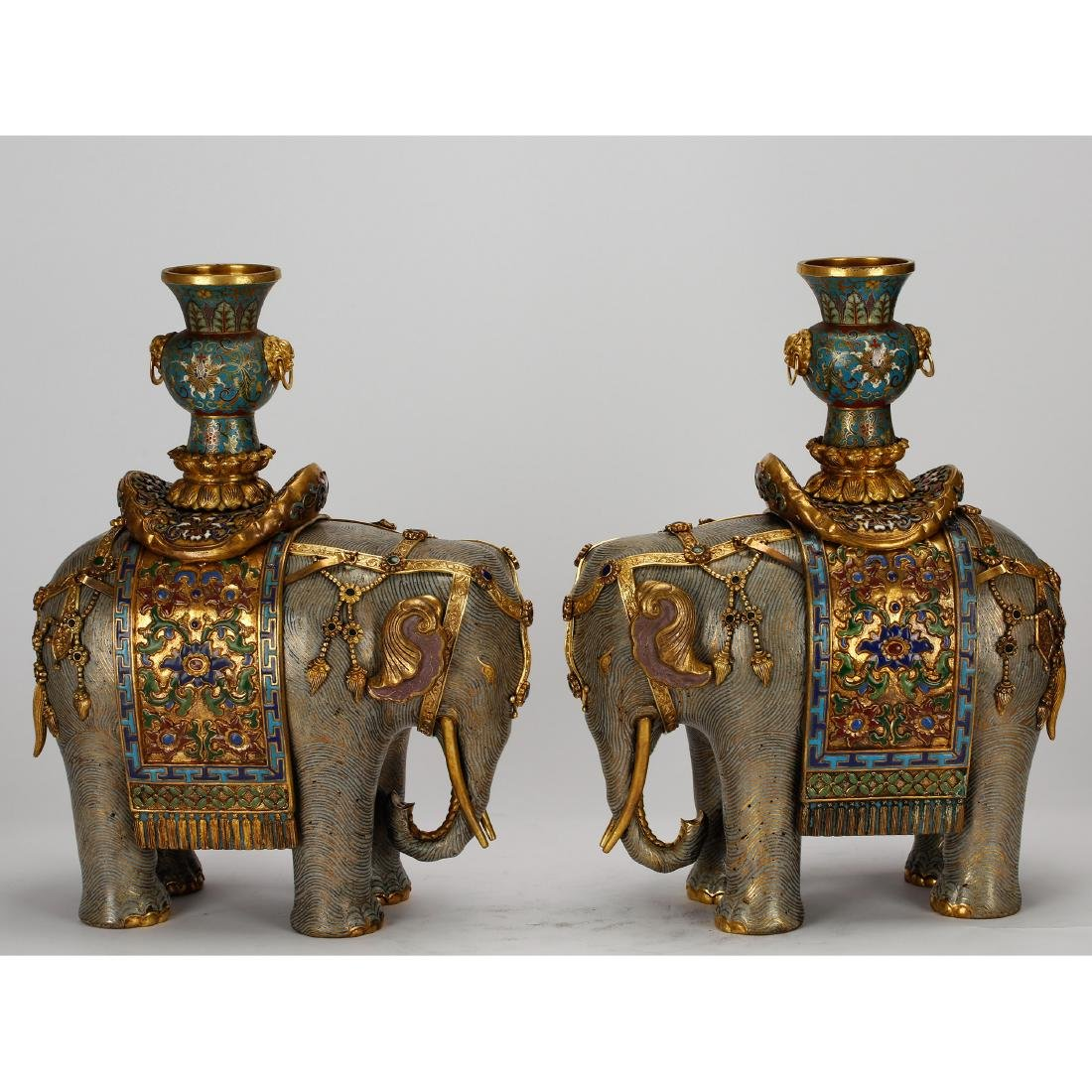 CHINESE PAIR OF CLOISONNE ELEPHANTS