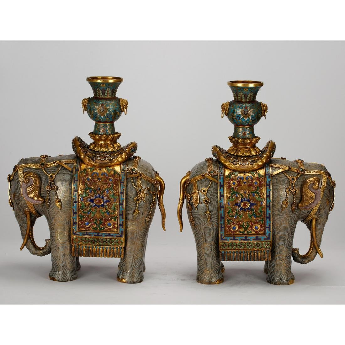 CHINESE PAIR OF CLOISONNE ELEPHANTS - 3