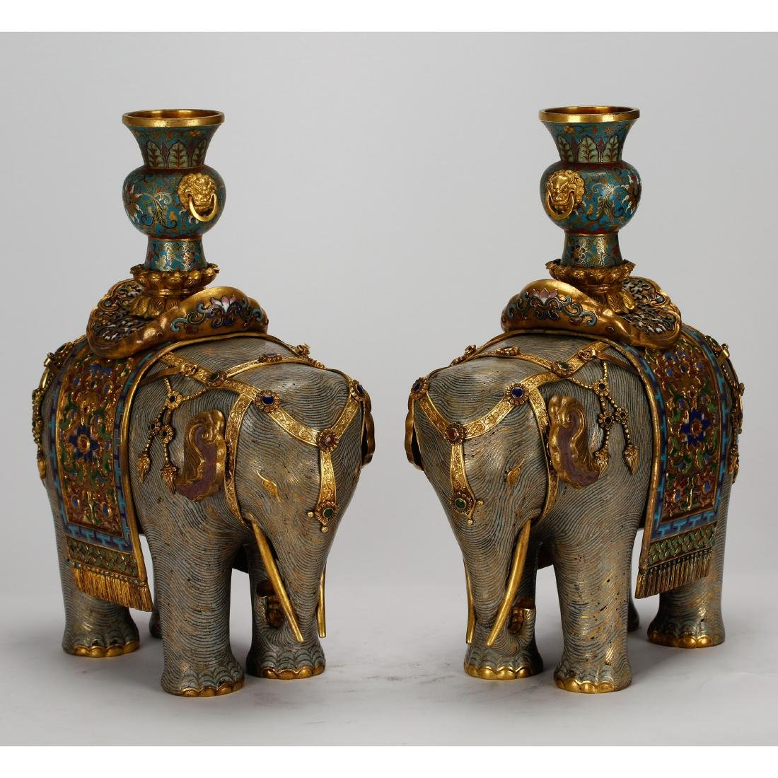 CHINESE PAIR OF CLOISONNE ELEPHANTS - 4