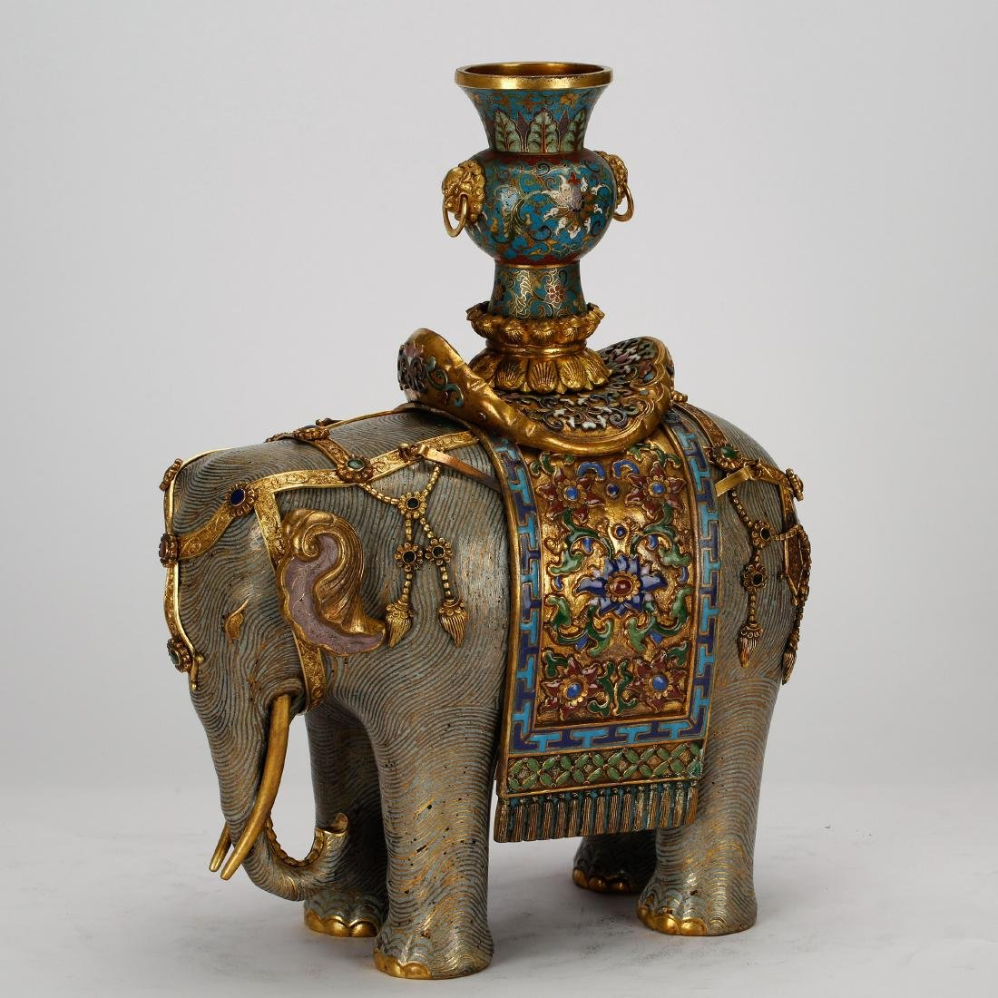 CHINESE PAIR OF CLOISONNE ELEPHANTS - 5