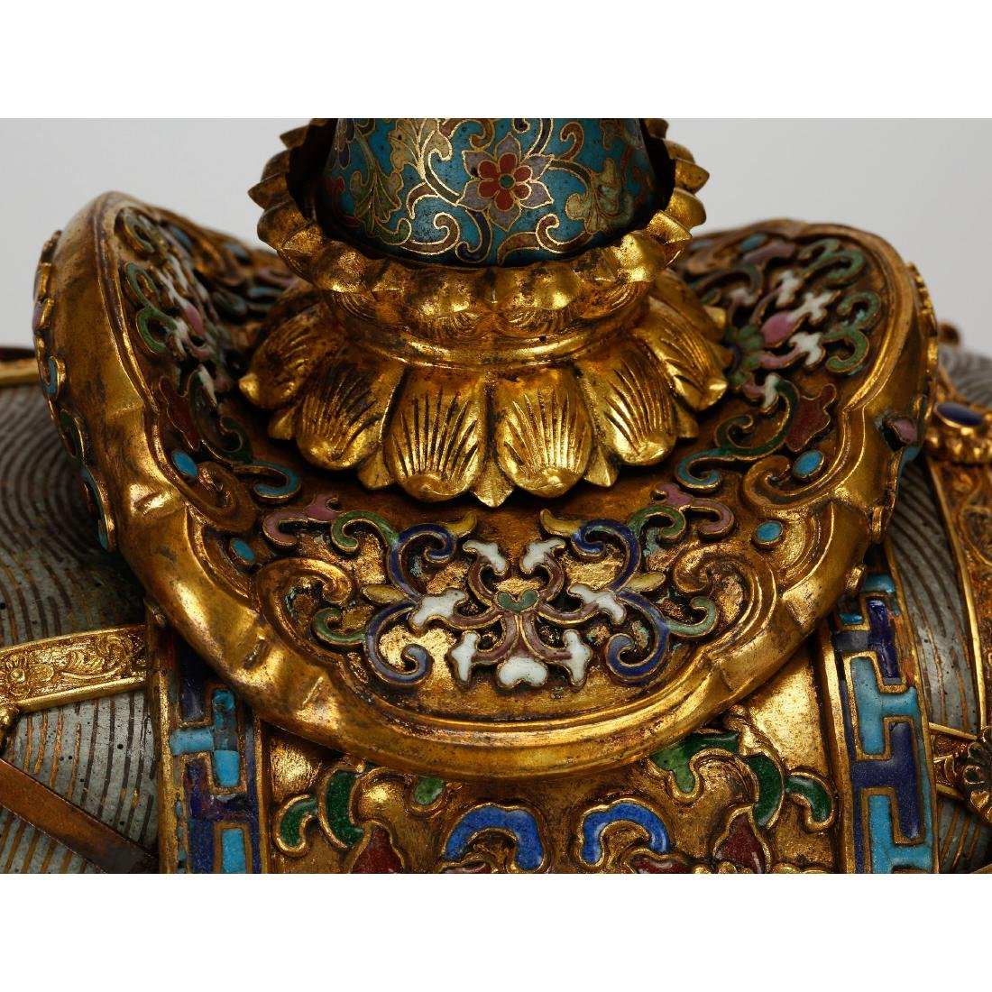 CHINESE PAIR OF CLOISONNE ELEPHANTS - 7