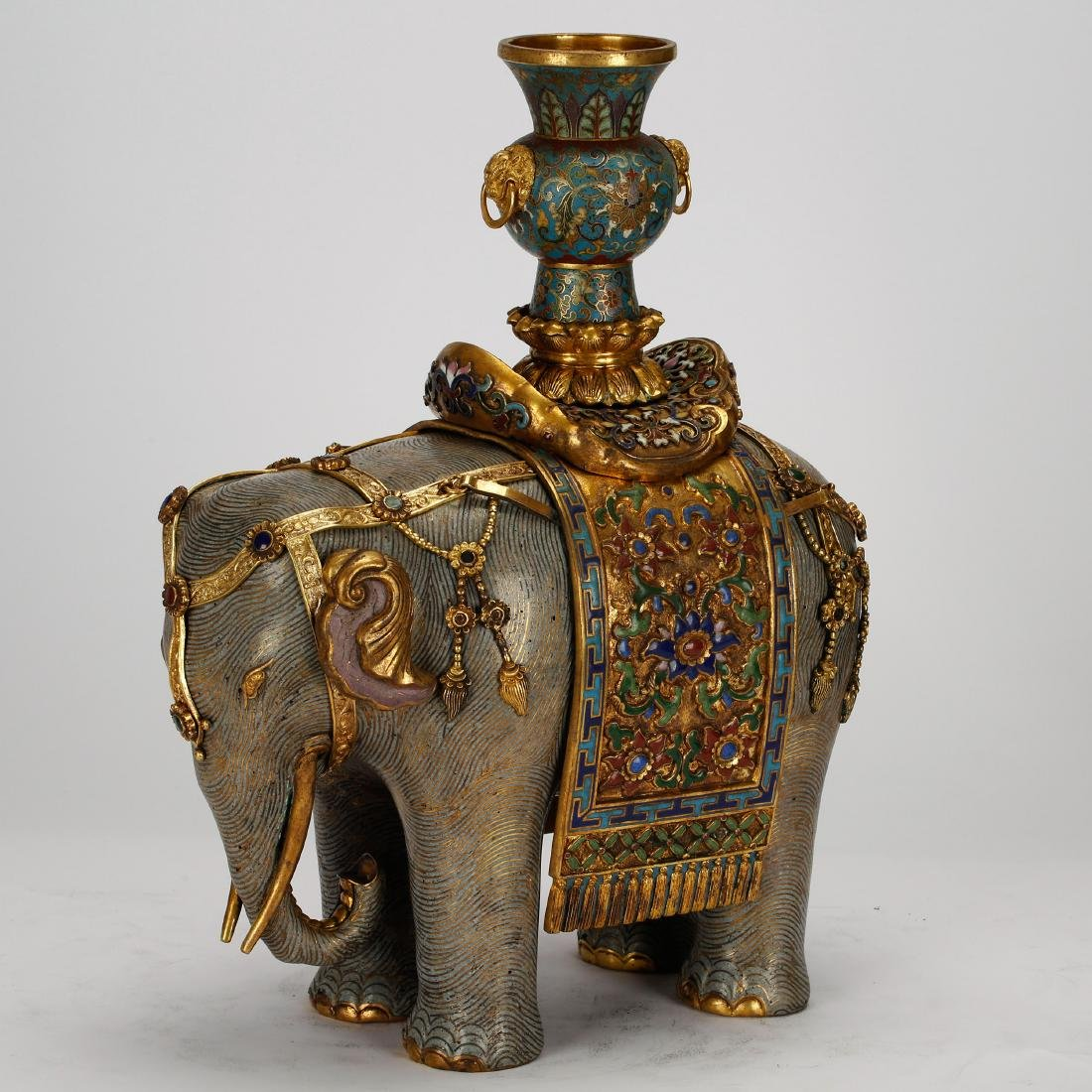 CHINESE PAIR OF CLOISONNE ELEPHANTS - 8