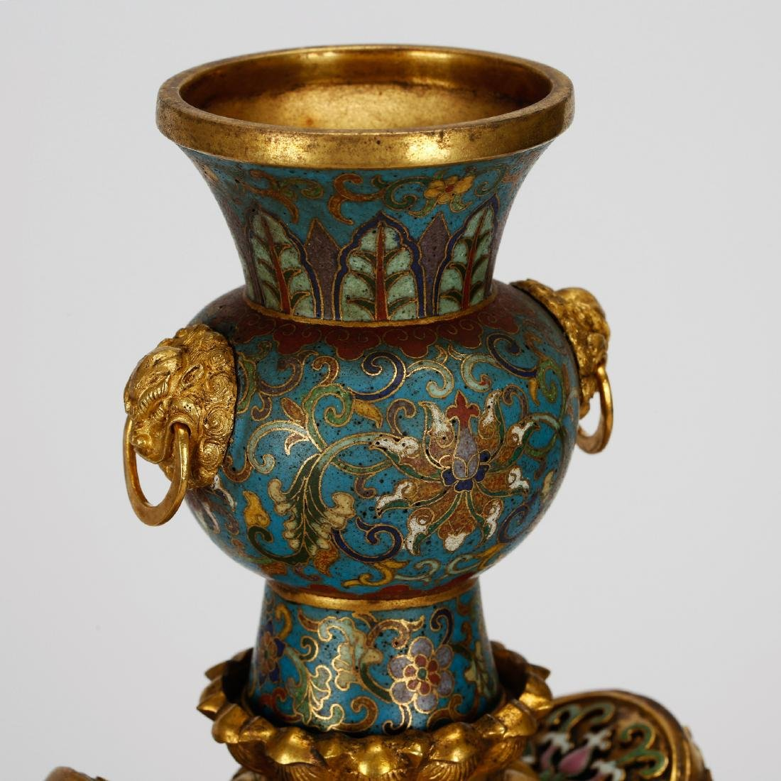 CHINESE PAIR OF CLOISONNE ELEPHANTS - 9