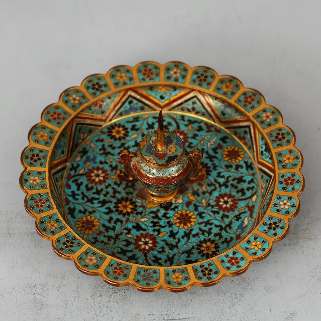 CHINESE CLOISONNE ENAMEL CANDLE STAND