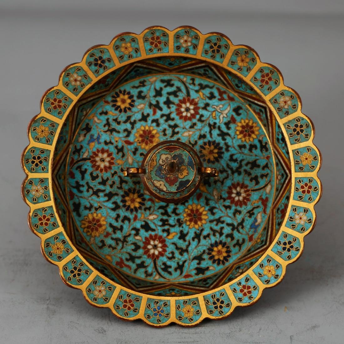 CHINESE CLOISONNE ENAMEL CANDLE STAND - 2