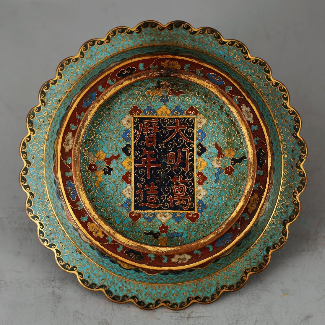 CHINESE CLOISONNE ENAMEL CANDLE STAND - 3