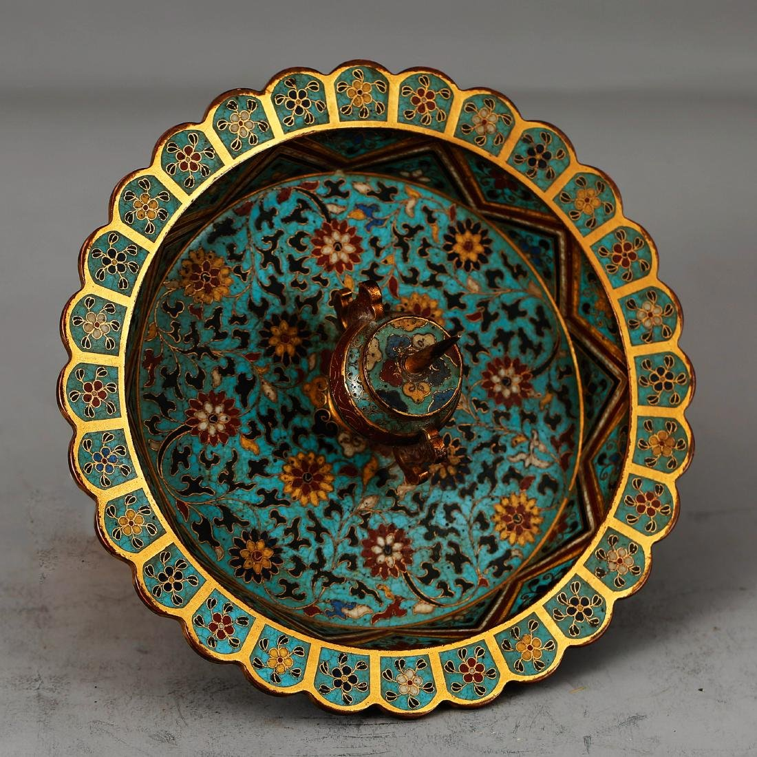 CHINESE CLOISONNE ENAMEL CANDLE STAND - 4