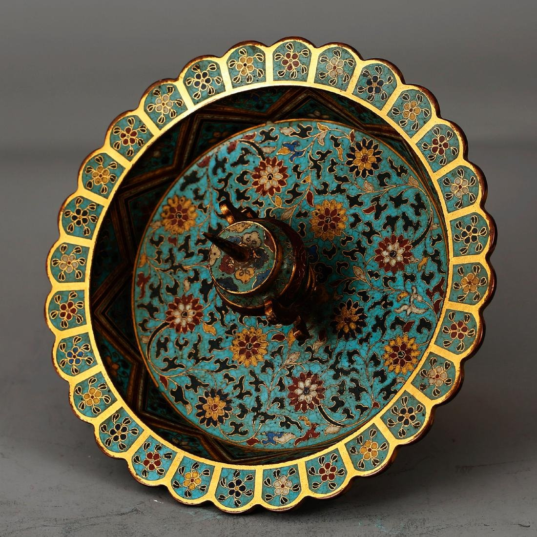 CHINESE CLOISONNE ENAMEL CANDLE STAND - 5
