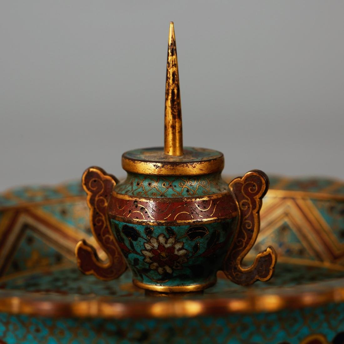 CHINESE CLOISONNE ENAMEL CANDLE STAND - 6