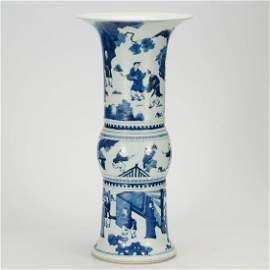 CHINESE BLUE AND WHITE GU VASE