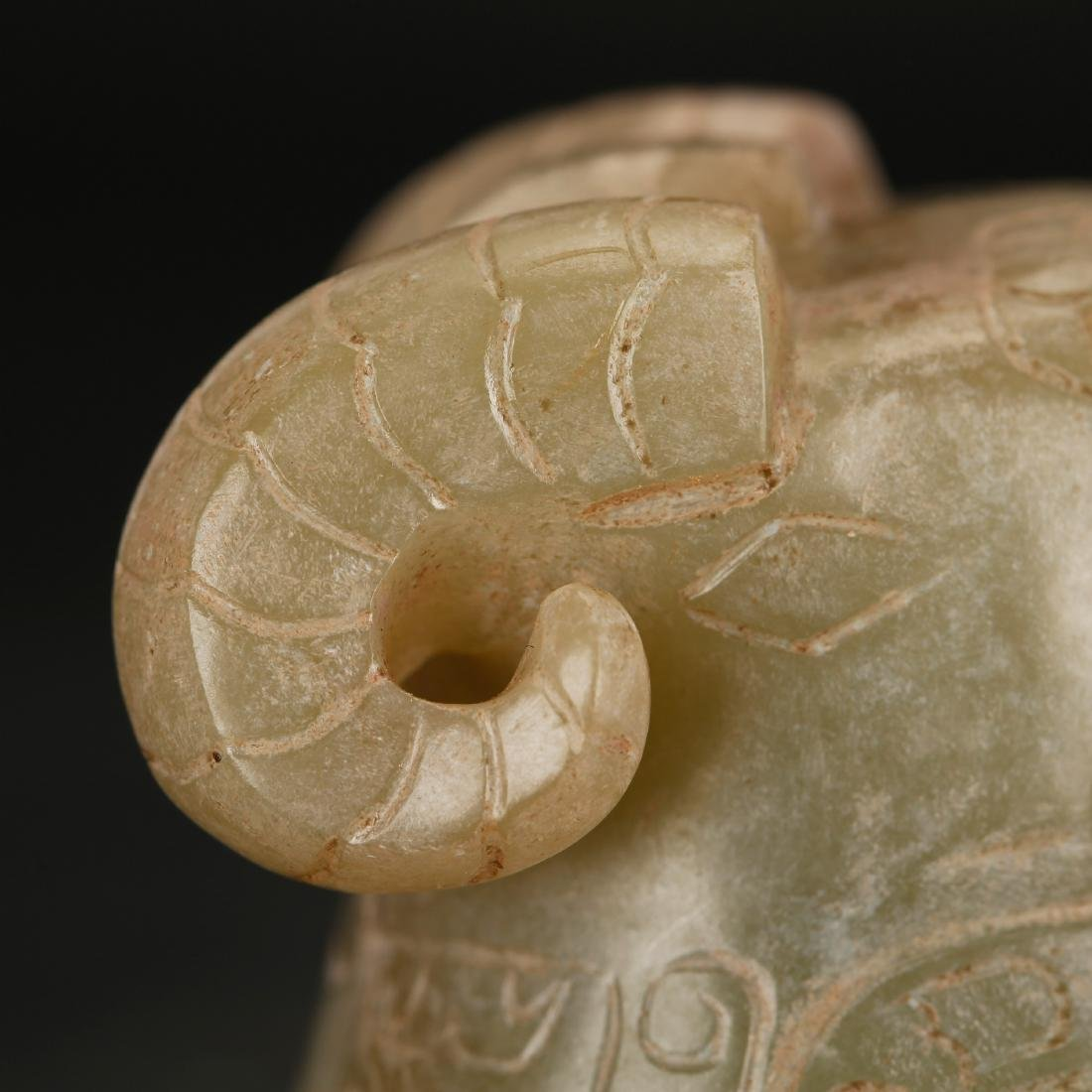 CHINESE ARCHAIC STYLE JADE SHEEP - 7