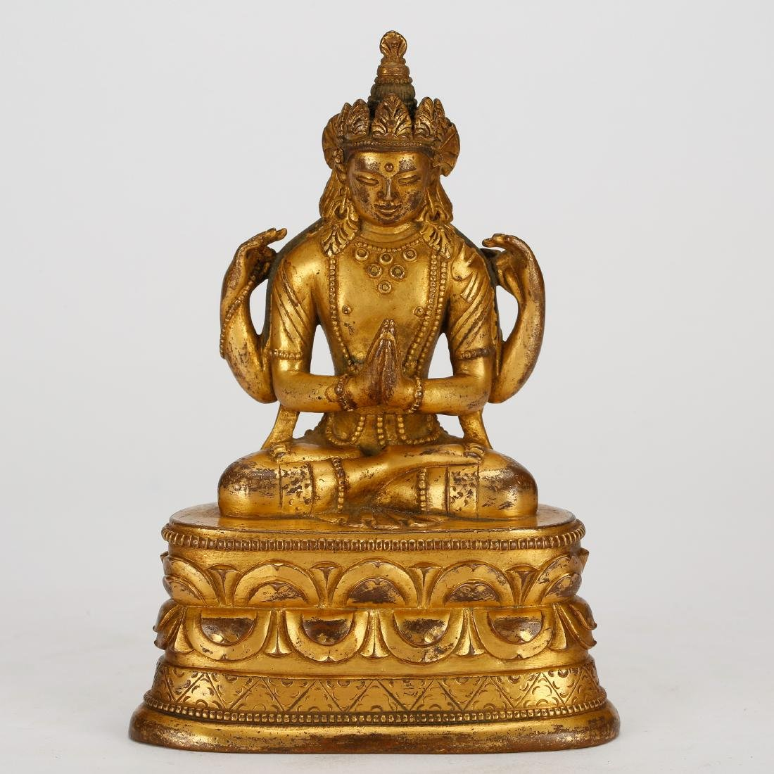 CHINESE GILT BRONZE SEATED GUANYIN