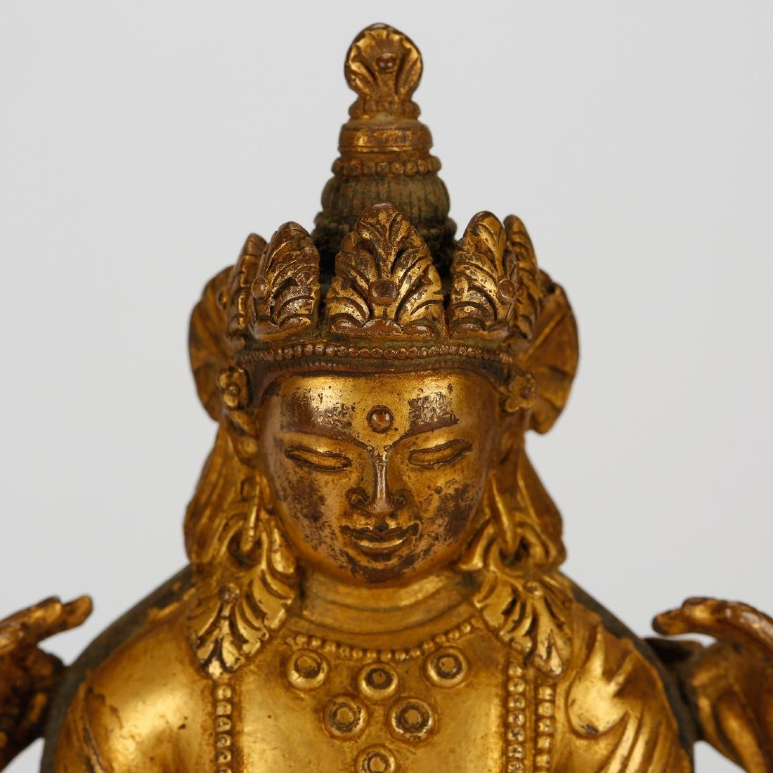 CHINESE GILT BRONZE SEATED GUANYIN - 4