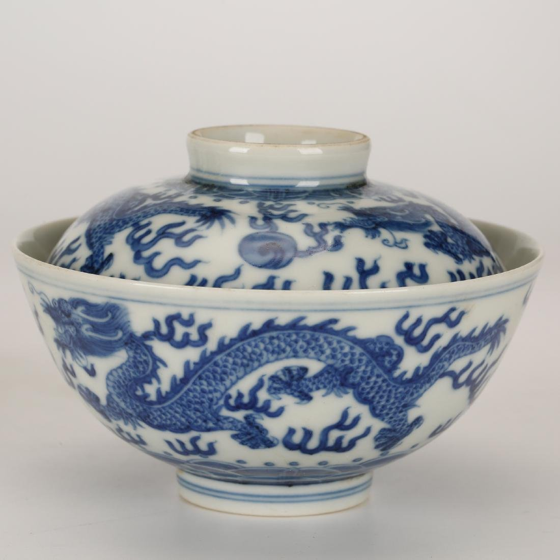 CHINESE BLUE AND WHITE COVER BOWL - 4