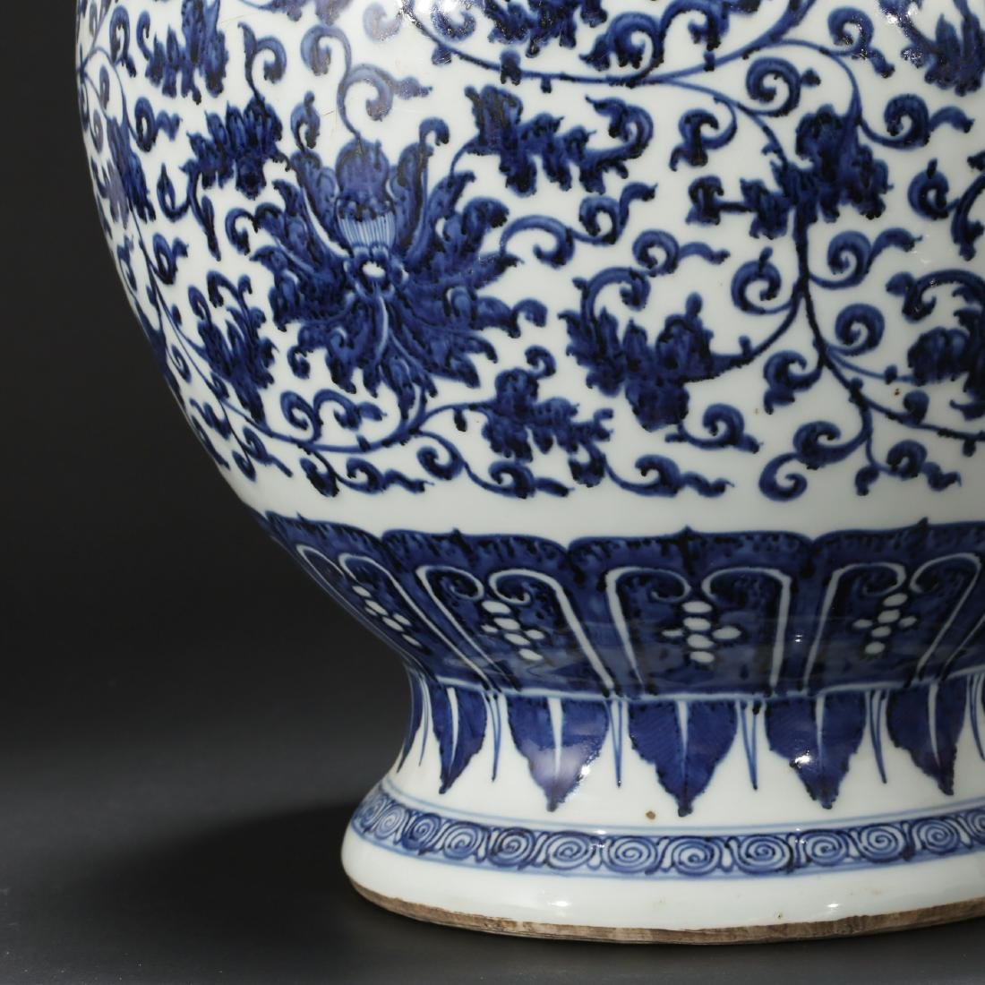 CHINESE BLUE AND WHITE FOLIAGE VASE - 8