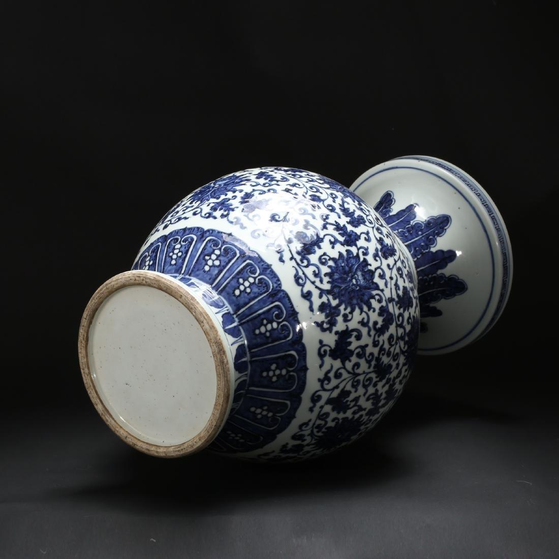 CHINESE BLUE AND WHITE FOLIAGE VASE - 9