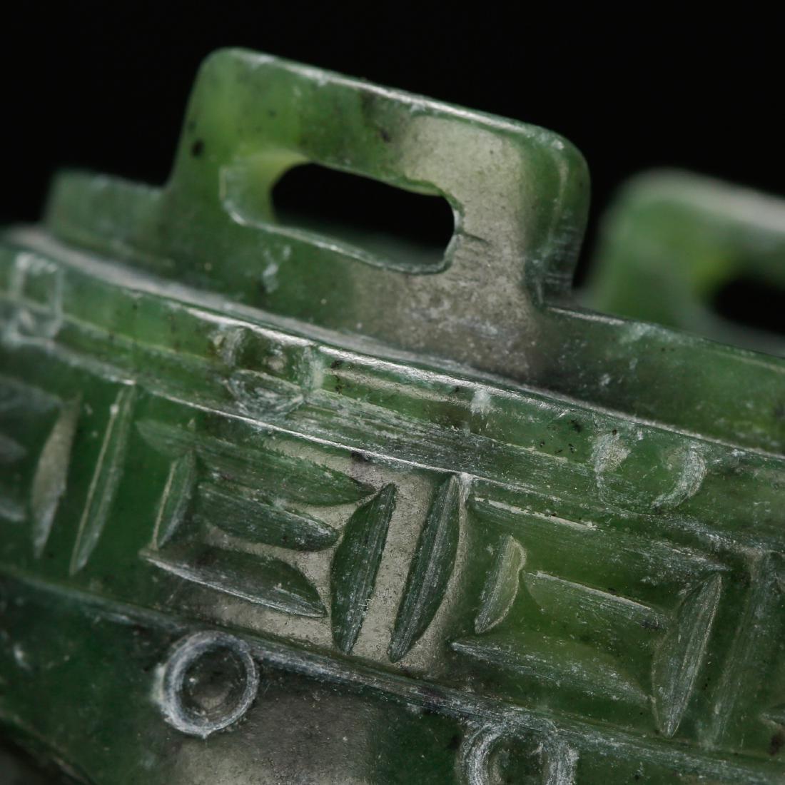 CHINESE SPINACH JADE CENSER - 5