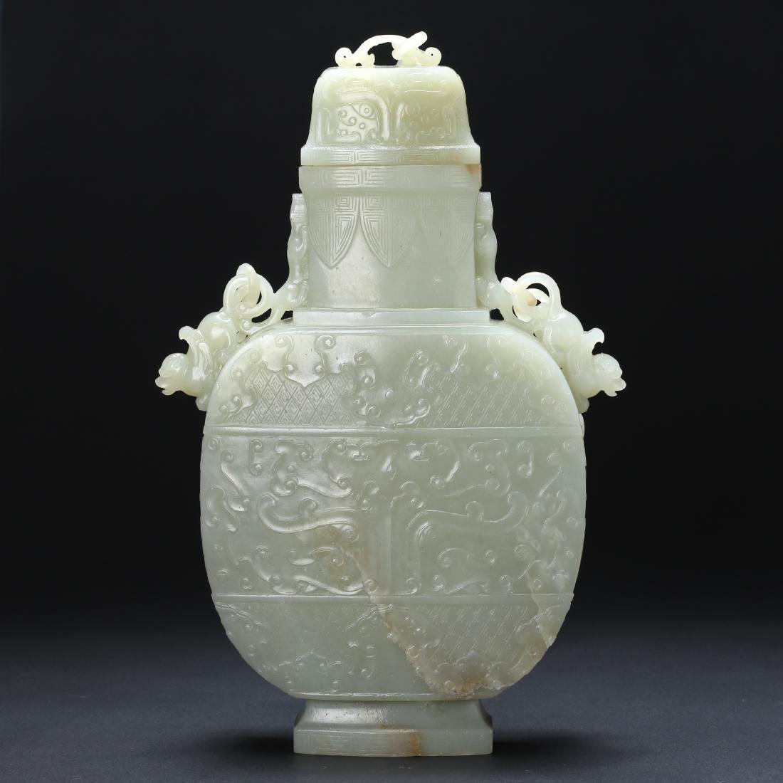 CHINESE CELADON WHITE JADE CHAIN VASE - 2