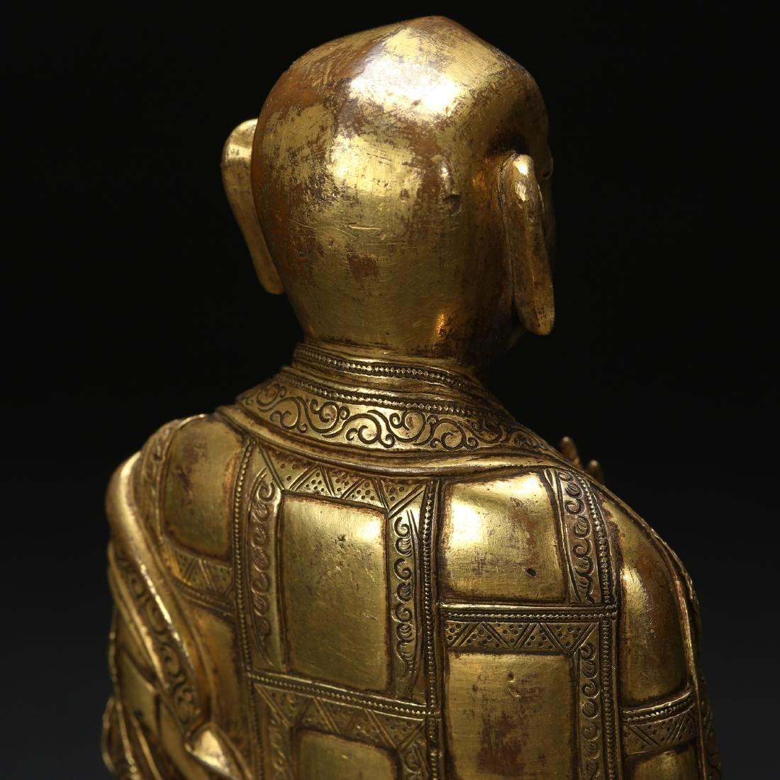 CHINESE GILT BRONZE SEATED LOHAN - 4