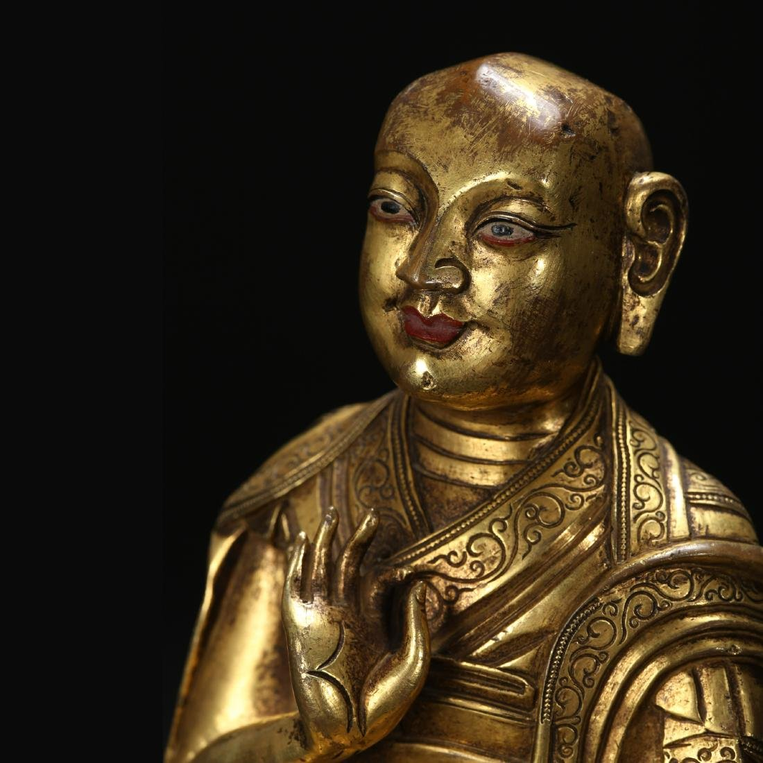CHINESE GILT BRONZE SEATED LOHAN - 5