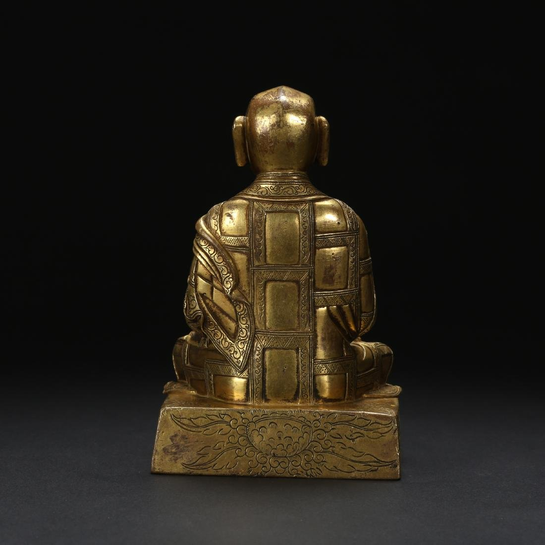 CHINESE GILT BRONZE SEATED LOHAN - 7