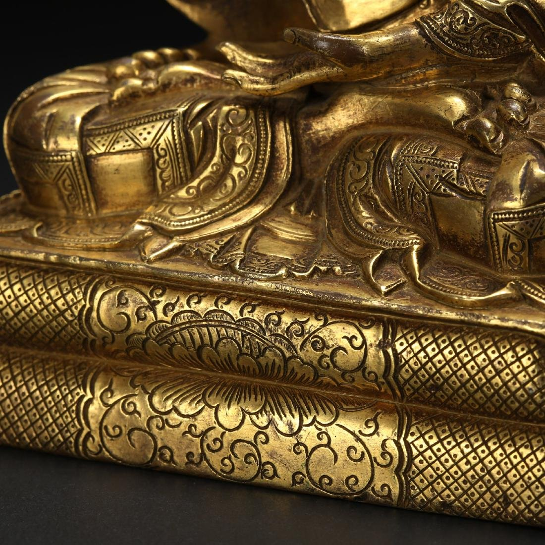 CHINESE GILT BRONZE SEATED LOHAN - 9