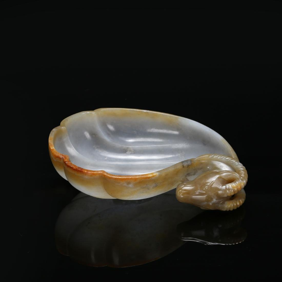 CHINESE MUGHAL STYLE JADE RAM WATER COUPE - 6