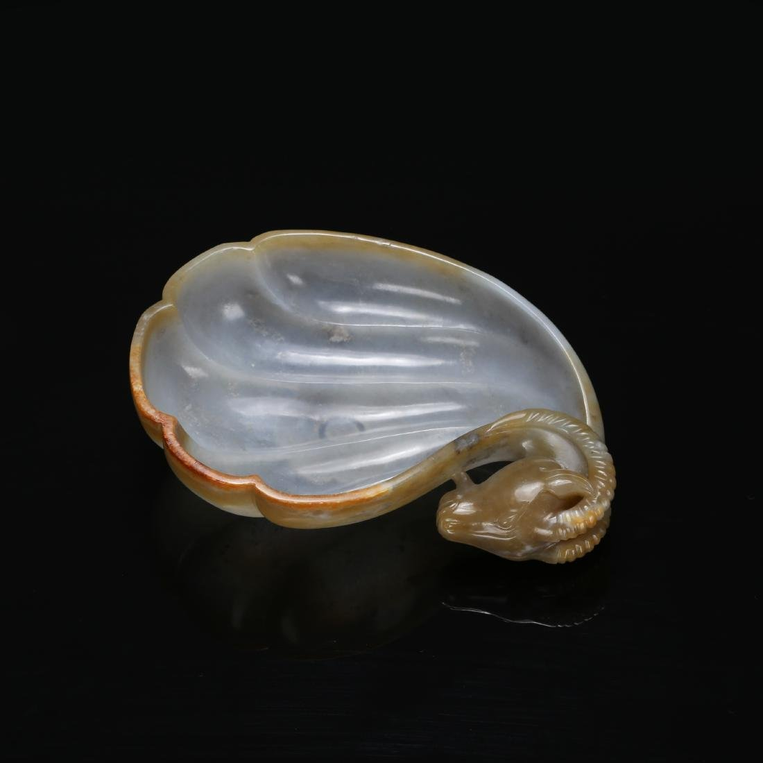 CHINESE MUGHAL STYLE JADE RAM WATER COUPE - 8