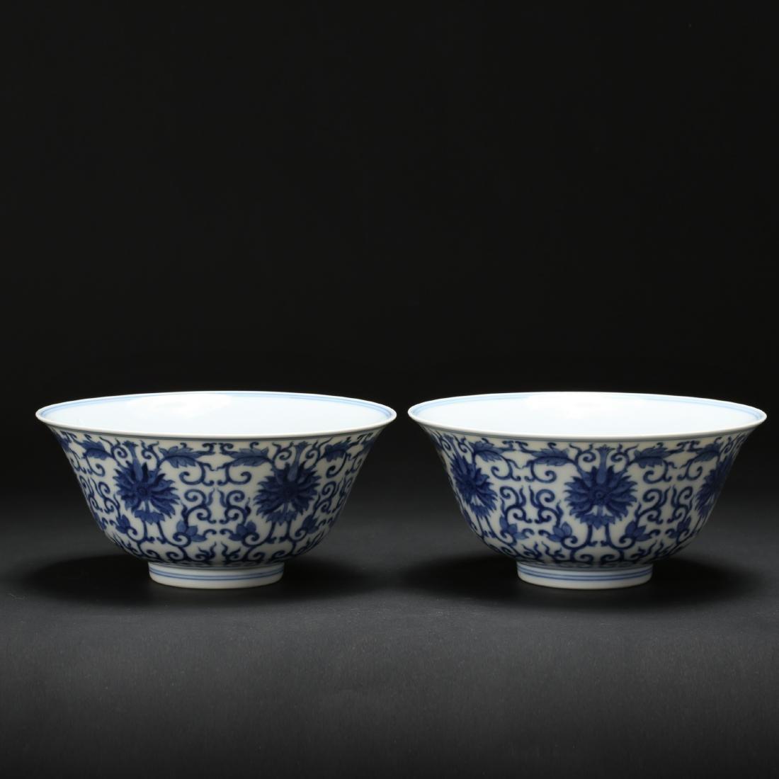 CHINESE BLUE AND WHITE FOLIAGE BOWLS