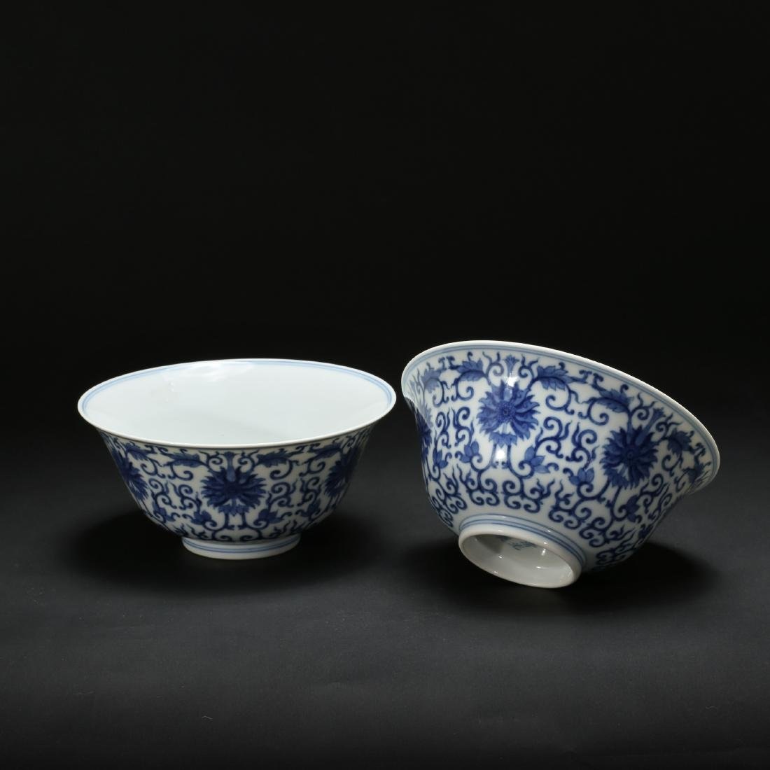 CHINESE BLUE AND WHITE FOLIAGE BOWLS - 6