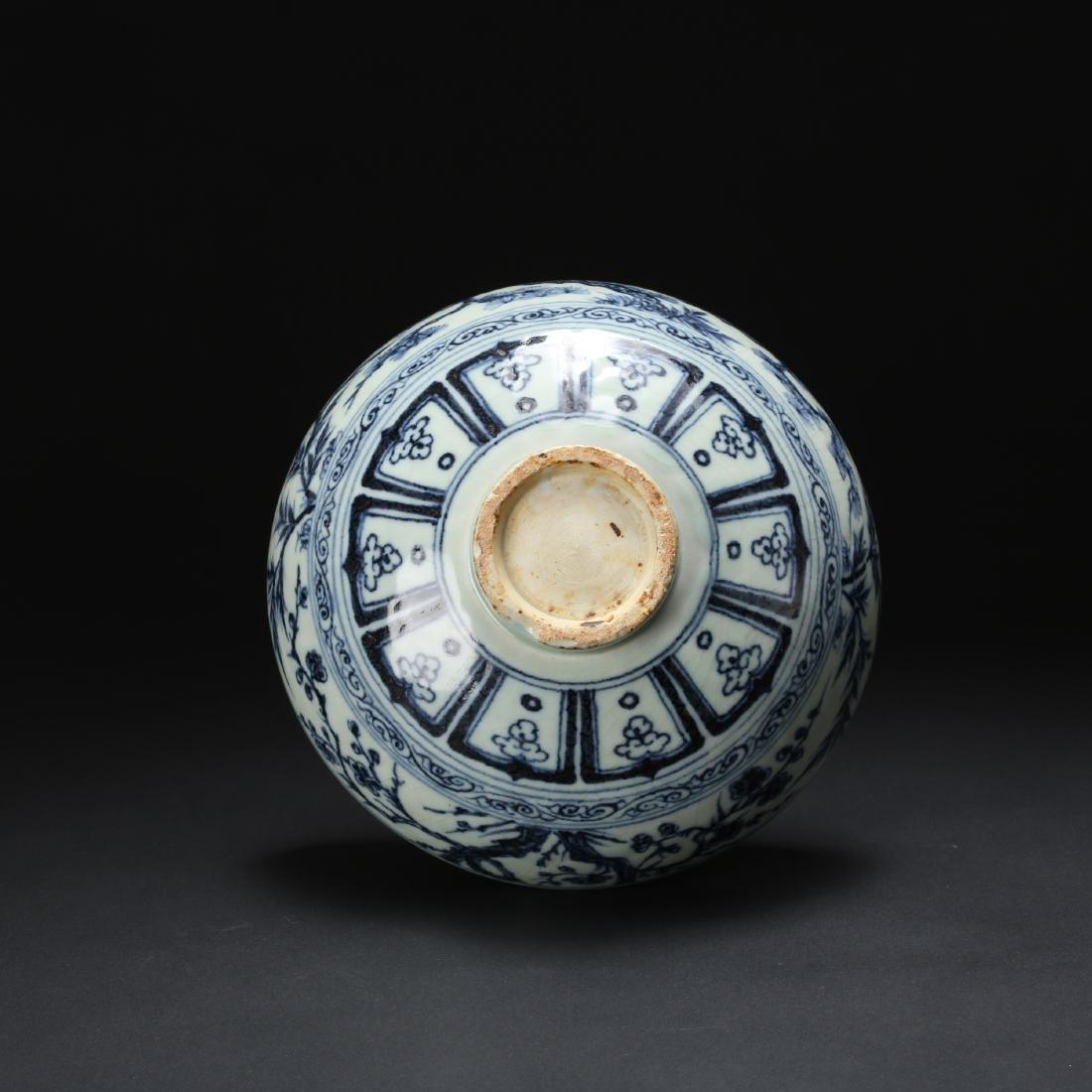 CHINESE BLUE AND WHITE FOLIAGE BOWL - 10