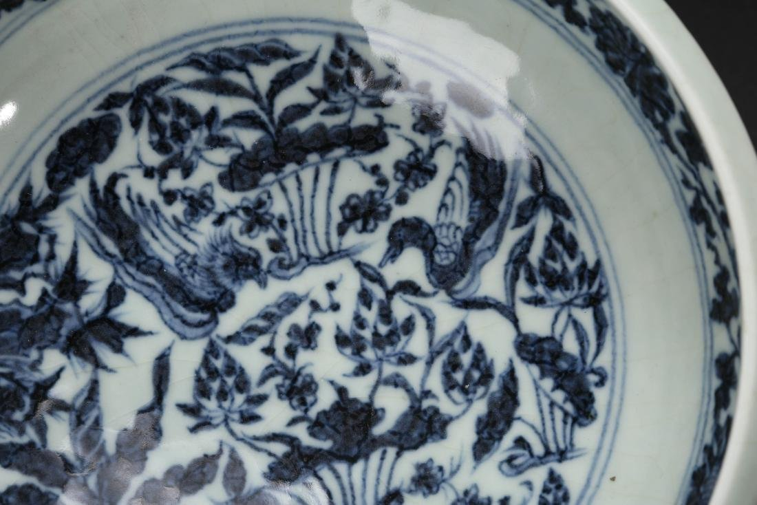 CHINESE BLUE AND WHITE FOLIAGE BOWL - 4