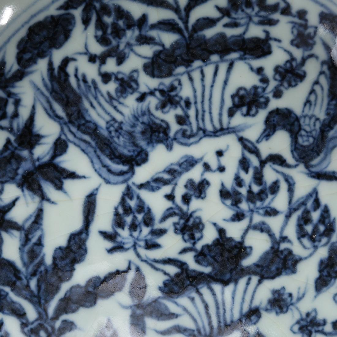 CHINESE BLUE AND WHITE FOLIAGE BOWL - 5