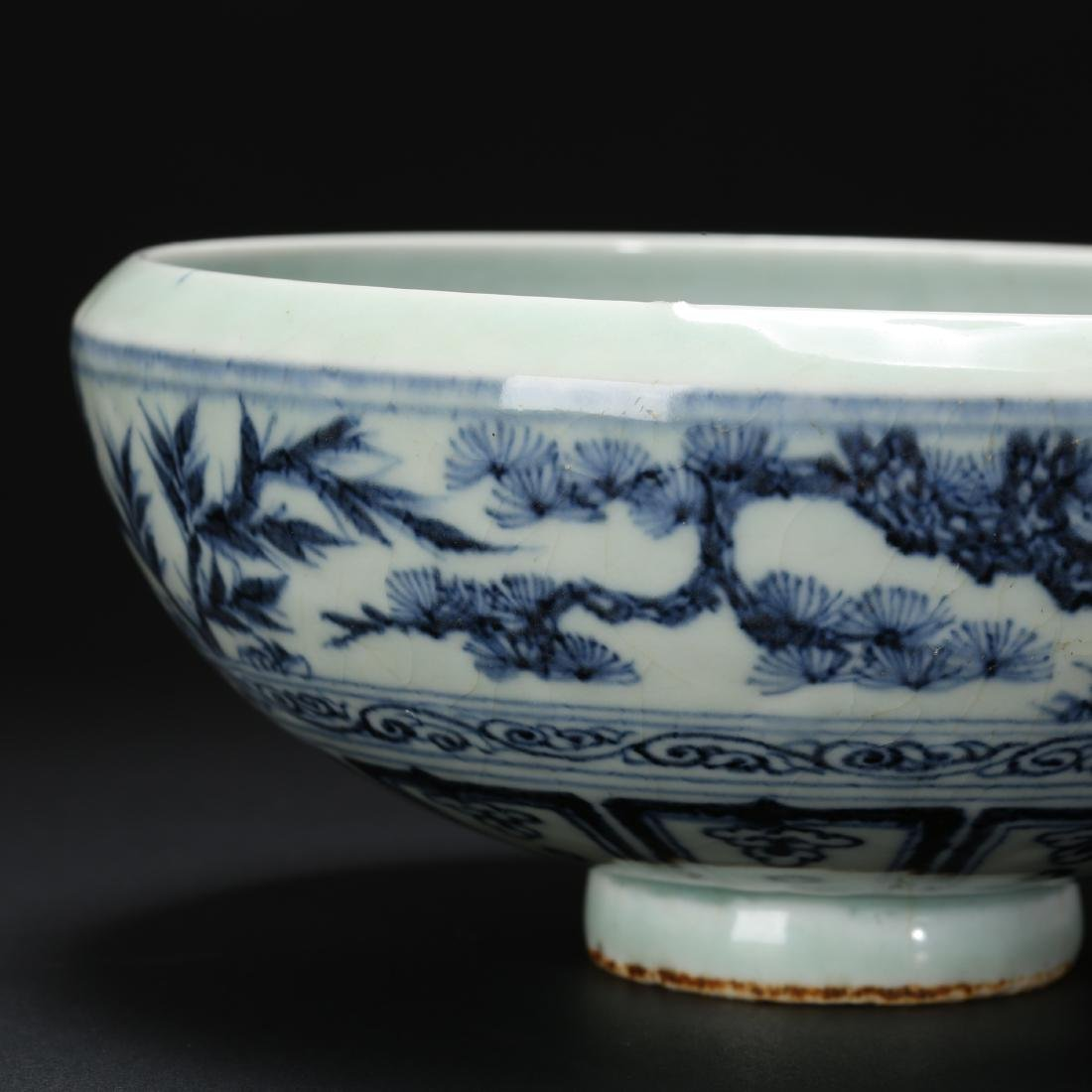 CHINESE BLUE AND WHITE FOLIAGE BOWL - 8