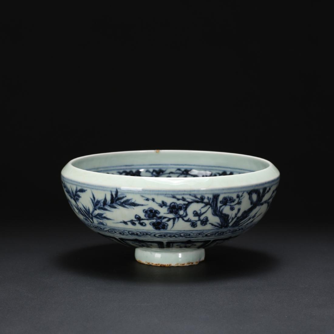 CHINESE BLUE AND WHITE FOLIAGE BOWL - 9