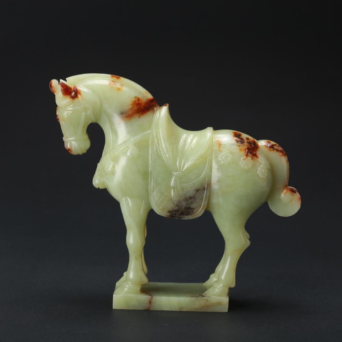 CHINESE CELADON JADE HORSE - 2
