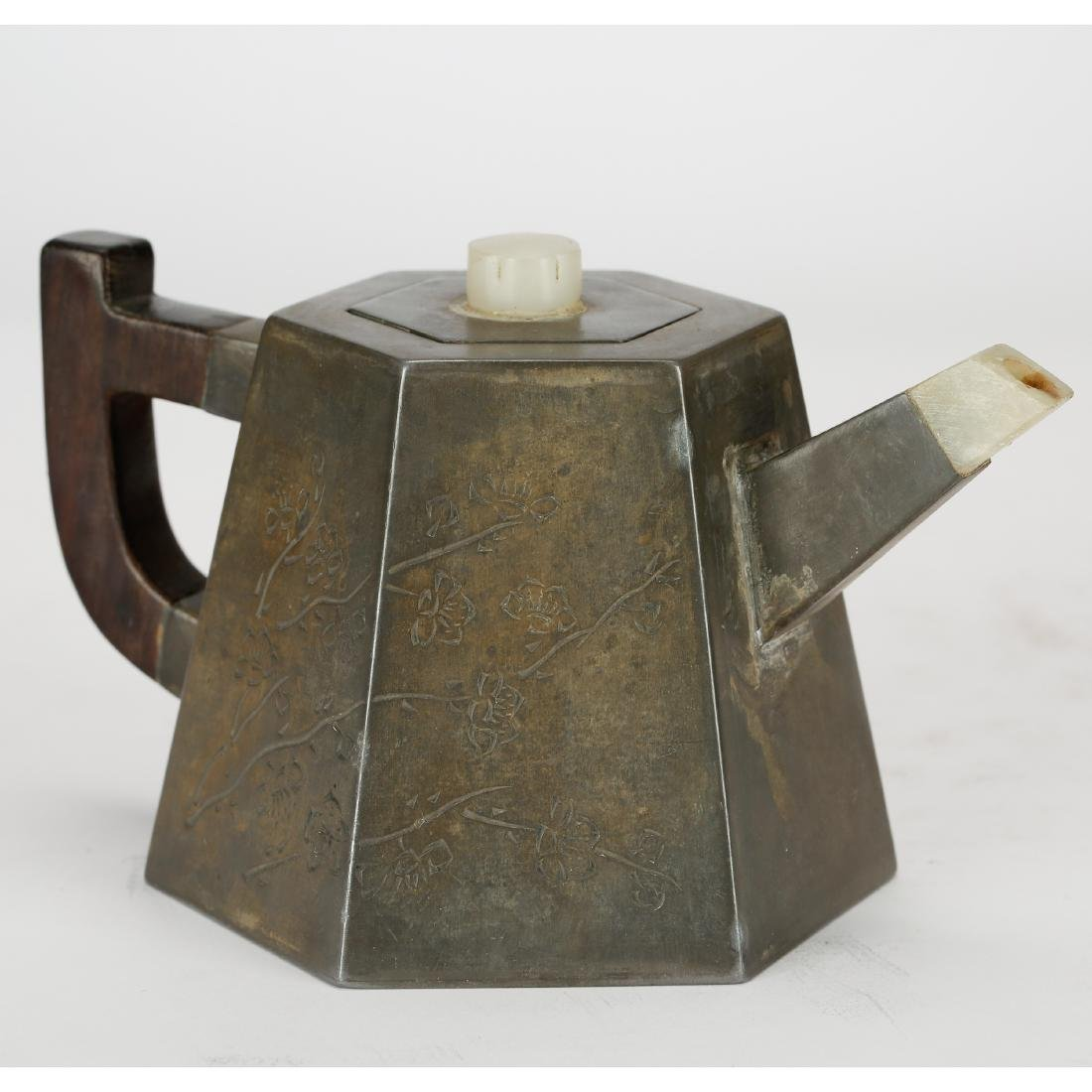 CHINESE PEWTER TEA POT WITH INLAID