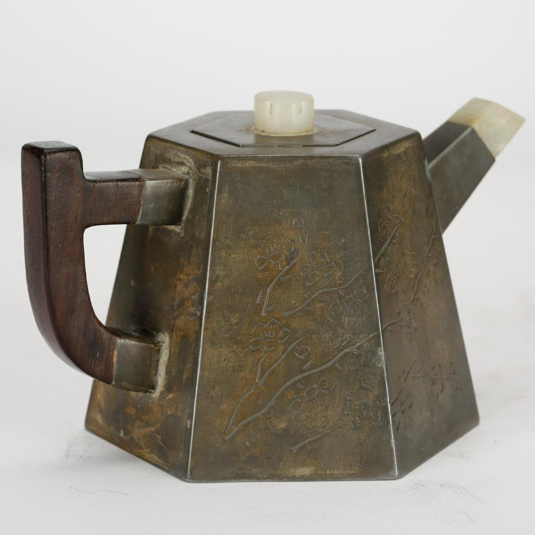 CHINESE PEWTER TEA POT WITH INLAID - 2