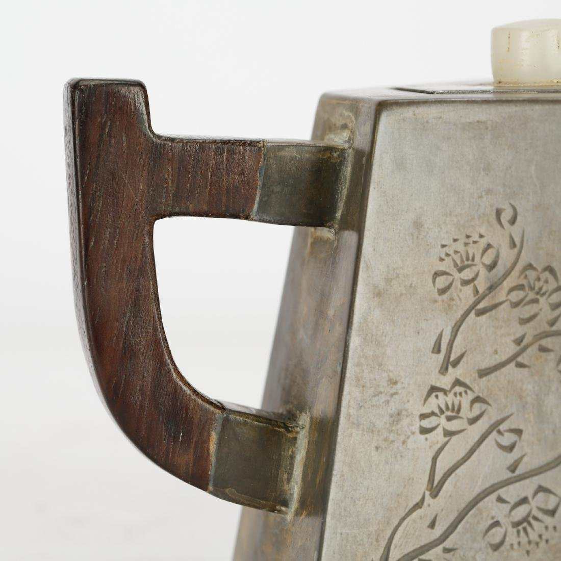 CHINESE PEWTER TEA POT WITH INLAID - 8