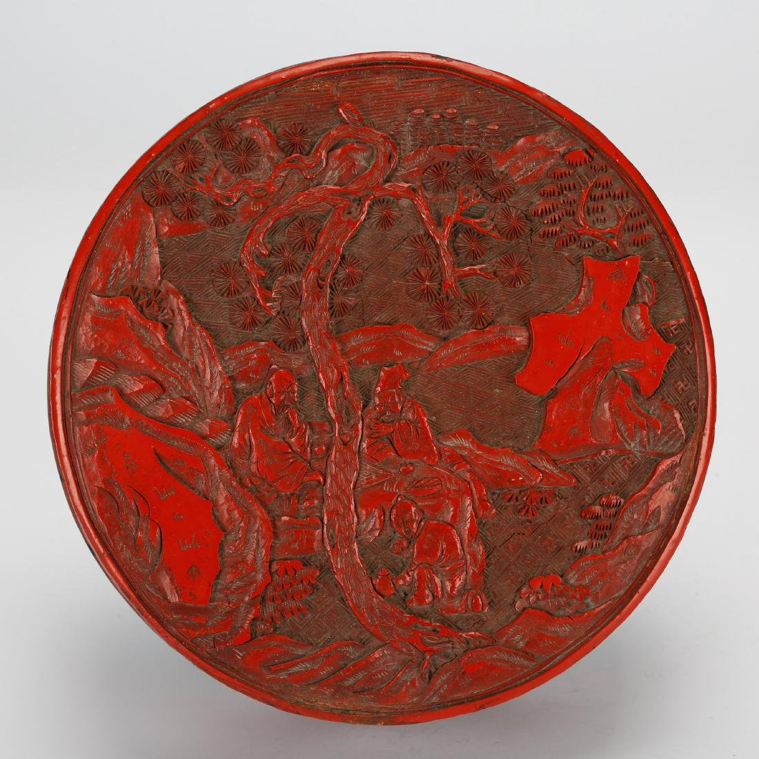 CHINESE CINNABAR LACQUER COVER BOX - 3