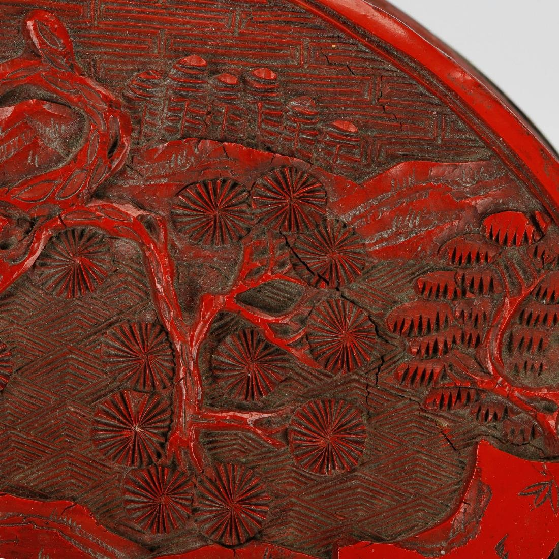 CHINESE CINNABAR LACQUER COVER BOX - 4