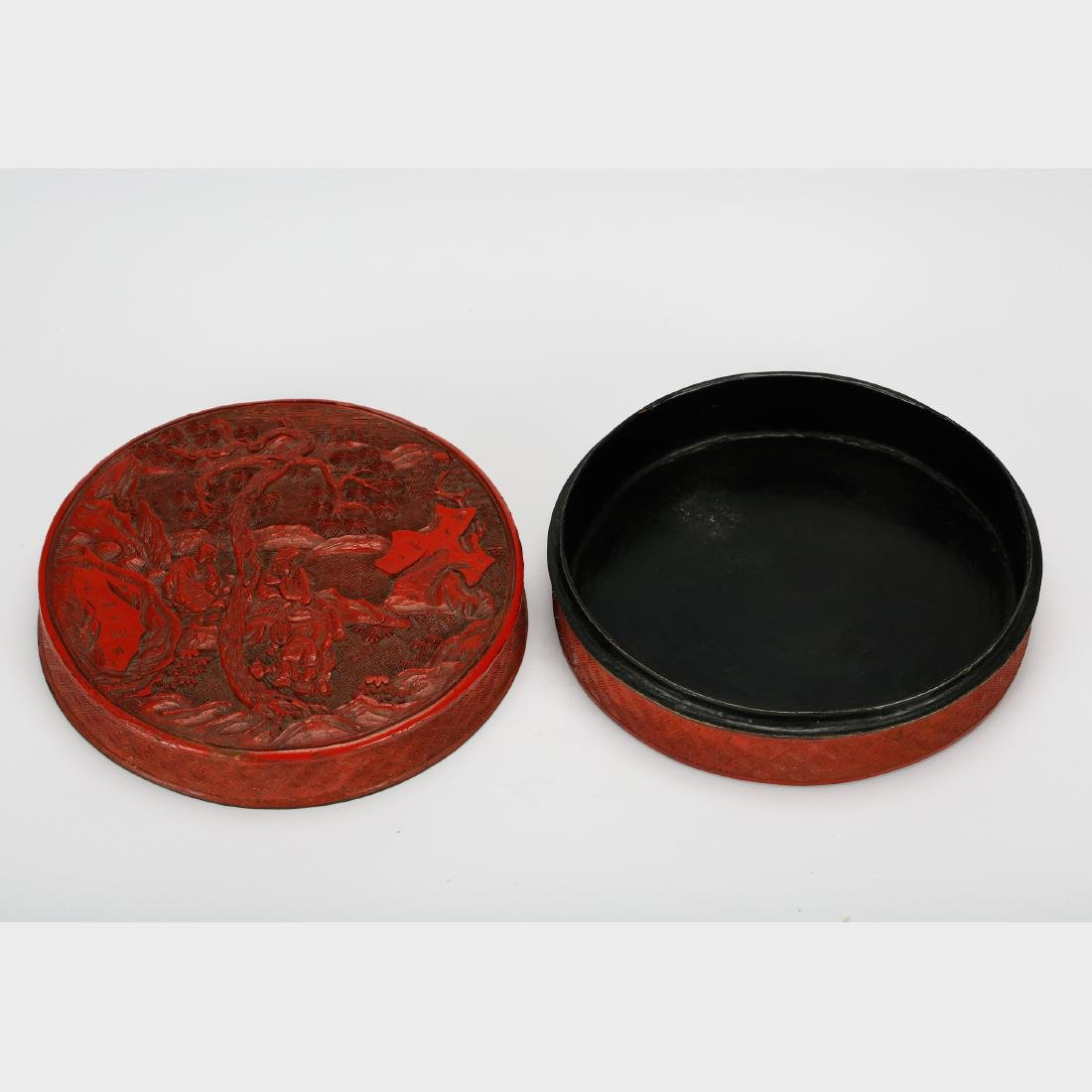 CHINESE CINNABAR LACQUER COVER BOX - 6