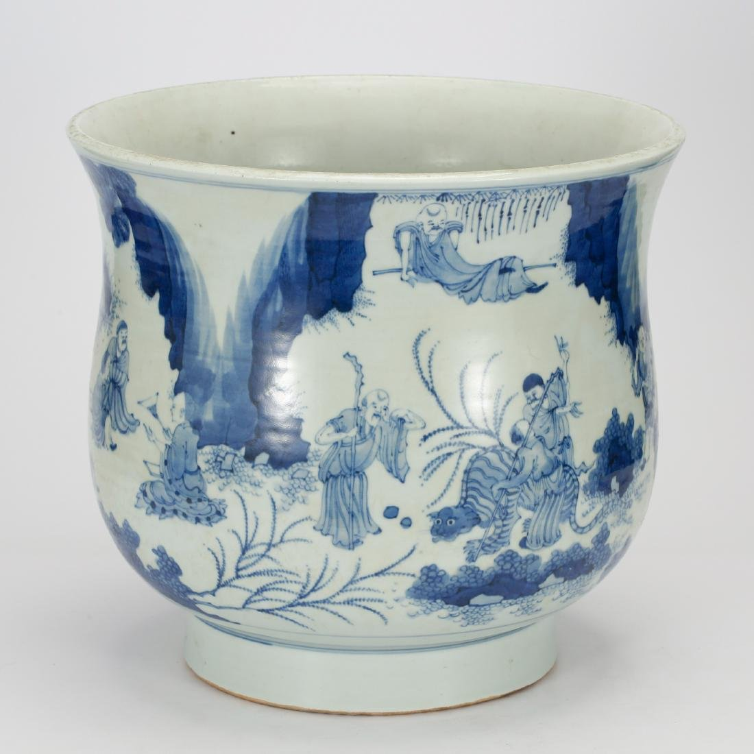CHINESE BLUE AND WHITE FISH BOWL - 2