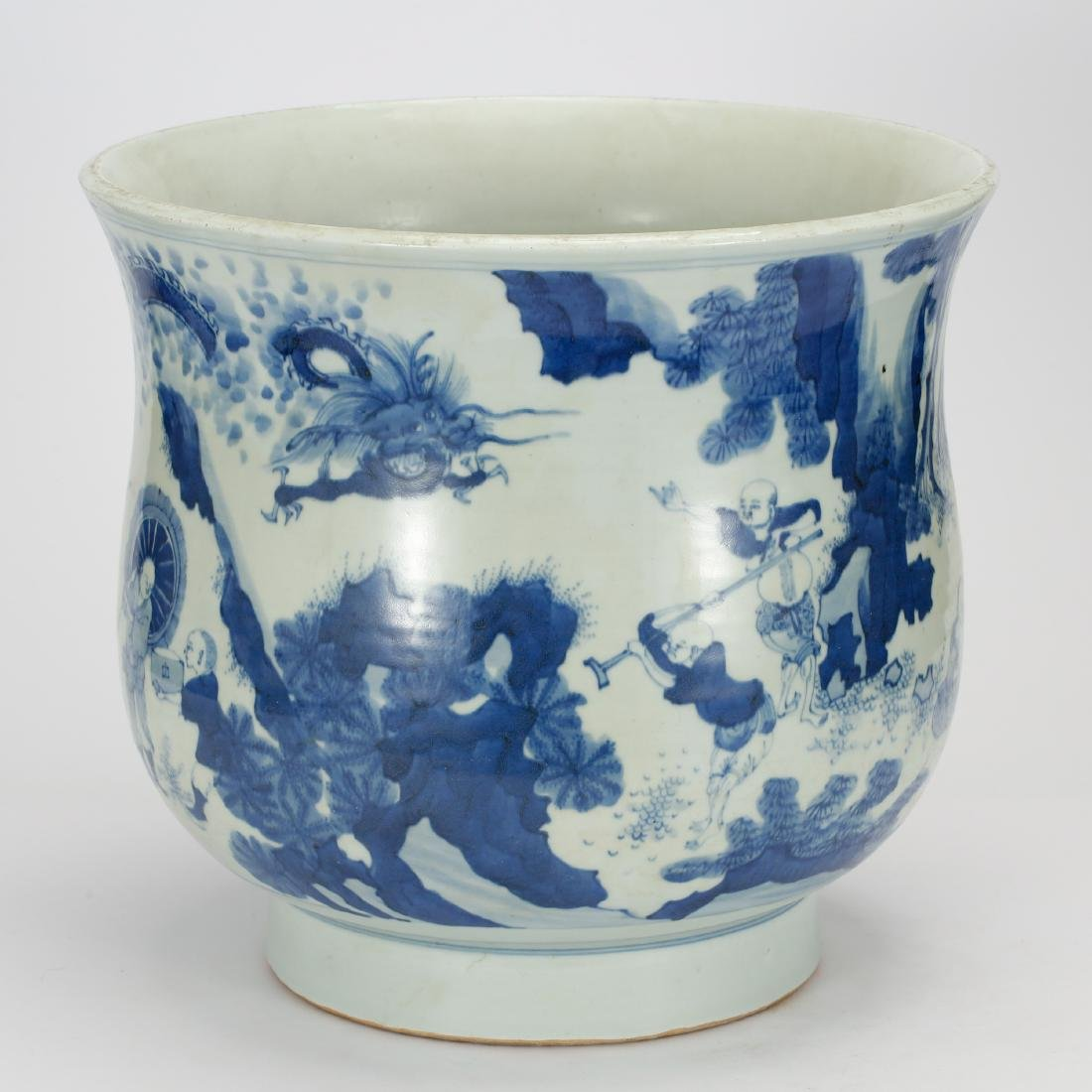 CHINESE BLUE AND WHITE FISH BOWL - 4
