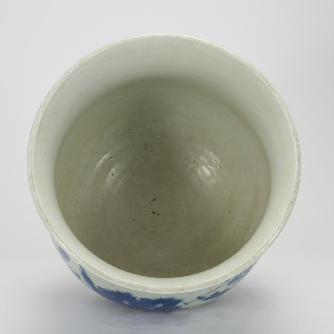CHINESE BLUE AND WHITE FISH BOWL - 5