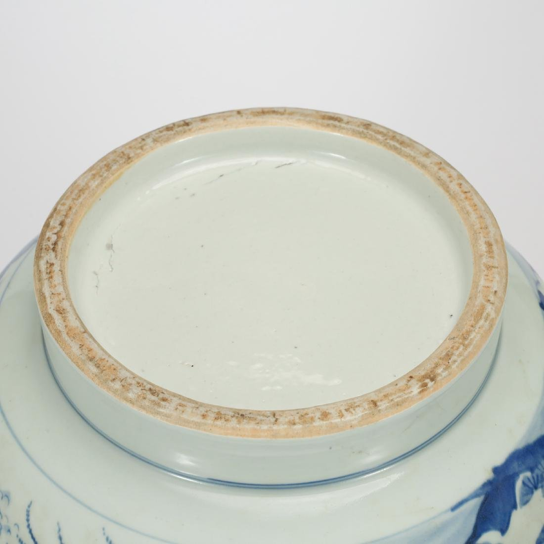 CHINESE BLUE AND WHITE FISH BOWL - 8