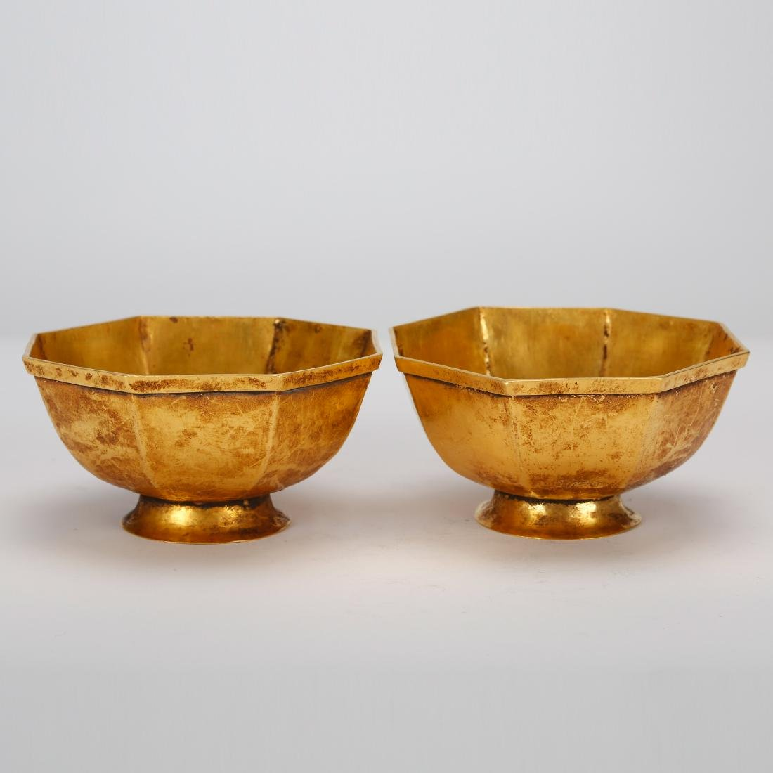 CHINESE QING DYNASTY GOLD BOWL, PAIR