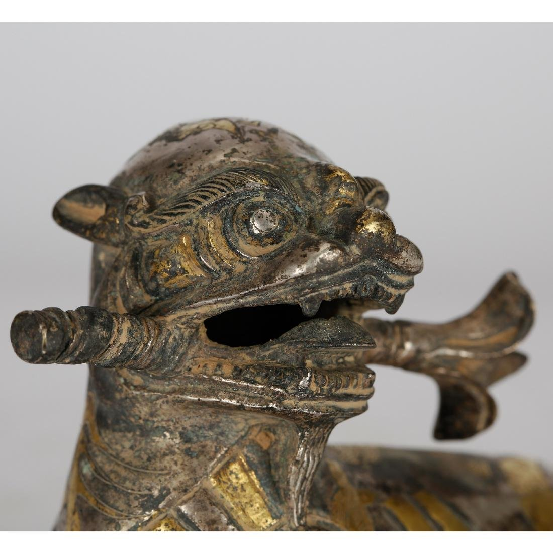 CHINESE ARCHAIC STYLE GILT BRONZE FIGURE OF BEAST - 5