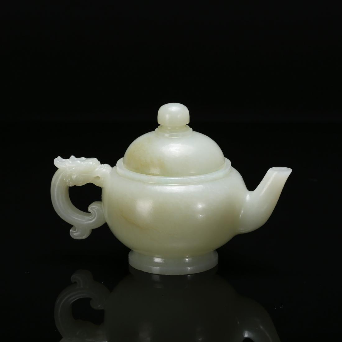 CHINESE CELADON JADE TEA POT - 4
