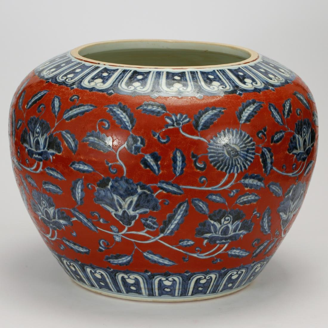 CHINESE BLUE WHITE RED GROUND PORCELAIN JAR - 3